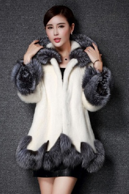 Women's Fashion Hooded White Fox Fur Coat