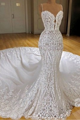 Gorgeous Lace Mermaid Wedding Dresses   Spaghetti Straps Fit and Flare Bridal Gowns_3