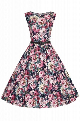 1950S Belted Floral Printed Retro Dress_2