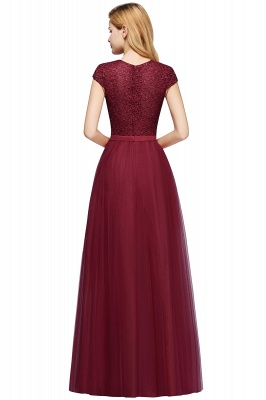 Cheap A-line Jewel Tulle Lace Bridesmaid Dress in Stock_13