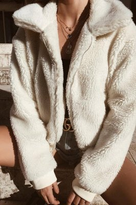 Thick Oversized Faux Shearling Coat with Zipper_14