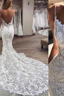 Sexy Mermaid Sleeveless Applique Spaghetti-Strap Wedding Dresses_2