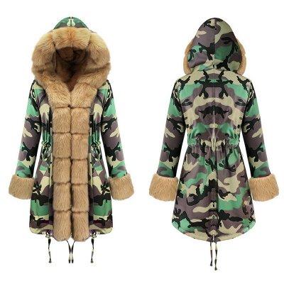 Camo Military Premium Fur Trim Parka Coat with Faux Fur Hood_13