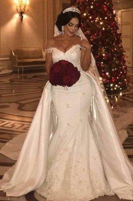 Off-the-Shoulder lace Appliques Wedding Dress with Detachable Train_2