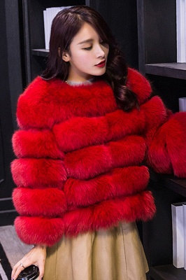 Tiered Fox Fur Coat with Full Fur Collar and Cuffs_41
