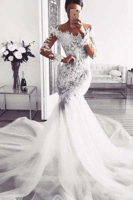Sexy Mermaid Lace Wedding Dresses | Glamorous Off Shoulder Long Sleeves Bridal Gowns_2