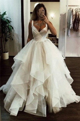 Stunning Straps V-neck Tiered Puffy Prom Dresses