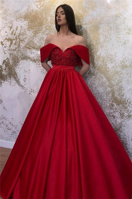 Off-the-shoulder Sweetheart Belted A-line Puffy Prom Dresses_1
