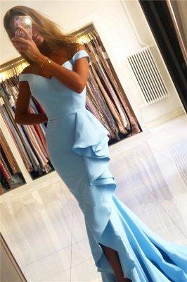Off the Shoulder Sweetheart Ruffle Mermaid Prom Dresses_3