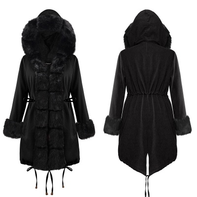 Premium Fur Trimmed Parka Coat with Faux Fur Hood_11