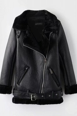 Women's Winter Velvet Pu Leather Jacket