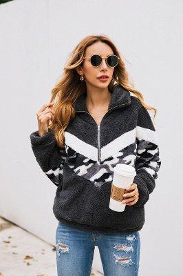 Womens Fuzzy  Halp Zip Fleece Winter Sherpa Sweaters Pullovers_8