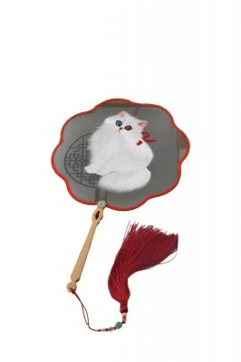 Chinese-Style Vintage Double-Sided Hand-Embroidered Circular Wave Side Fan With Tassel Pendant