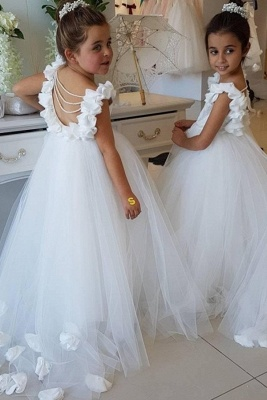 Sweet Tulle Appliques Backless Flower Girl Dresses with Pearls_5