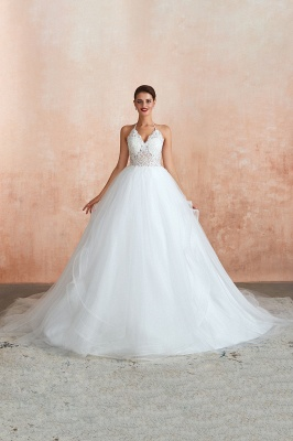 Halter Backless Sexy Cheap Ball Gown Wedding Dresses | Affordable Tulle Bridal Gowns_12