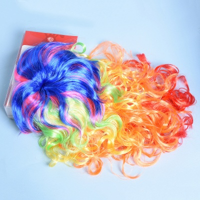 Rainbow Long Wavy Curly Wig for Women_5
