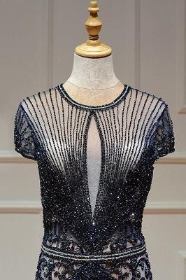 Luxury Cap Sleeves Keyhole Rhinestones Mermaid Prom Dresses | Gorgeous Beaded Evening Dress_26