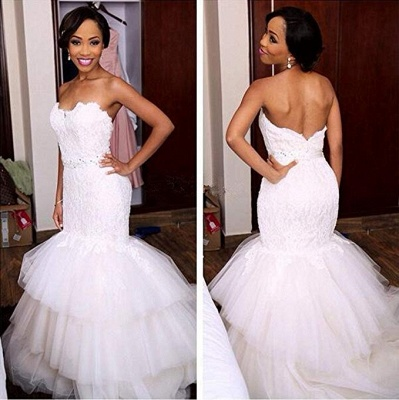 Appliques Crystal Tiered Sweetheart Mermaid Tulle Newest Wedding Dress_3