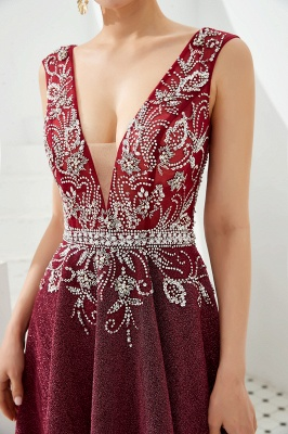 Straps Deep V-neck Beaded Sexy Long Prom Dresses | Elegant Floor Length Evening Dresses_3