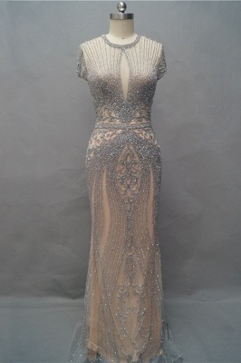 Luxury Cap Sleeves Keyhole Rhinestones Mermaid Prom Dresses | Gorgeous Beaded Evening Dress_6