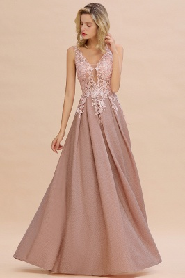 Elegant Sleeveless V-neck Floor Length Appliques Prom Dresses | Cheap Backless Evening Dresses_1