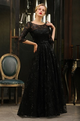 A-line Round Neckline Sexy Lace Prom Dresses | Black Evening Dresses_9