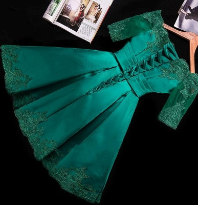 Charming Short Lace Appliques Half-Sleeve Green Homecoming Dress_3