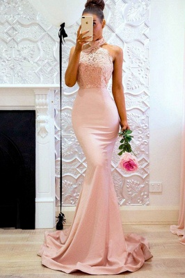 Sweep-Train Applique Halter Mermaid Lace Elegant Prom Dresses_2