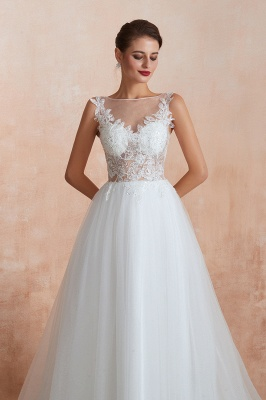 Sheer Top Bateau Sleeveless Floor Length A-line Tulle Wedding Dresses_6