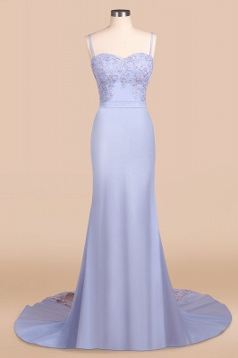Spaghetti Straps Appliques Long Sexy Prom Dresses   Elegant Sweep Train Evening Dresses_5