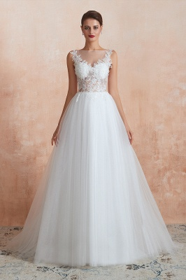 Sheer Top Bateau Sleeveless Floor Length A-line Tulle Wedding Dresses_10