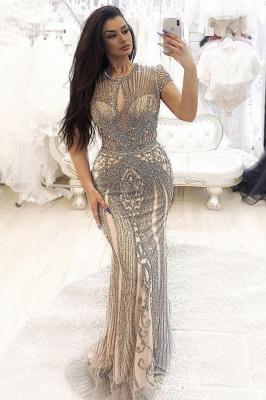 Luxury Cap Sleeves Keyhole Rhinestones Mermaid Prom Dresses | Gorgeous Beaded Evening Dress_1