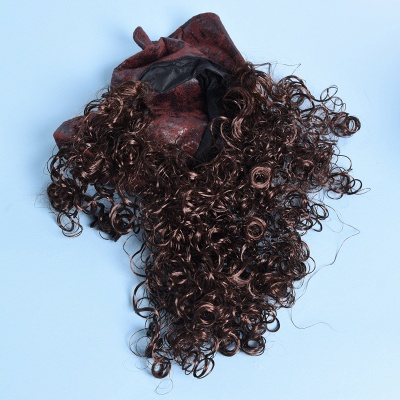 Copper Red Long Wavy Curly Pirates Synthetic Wigs_4