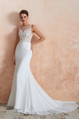 Sweep Train Crew Form-fitting Lace Wedding Dresses |Sleeveless Sheath Bridal Gown_4