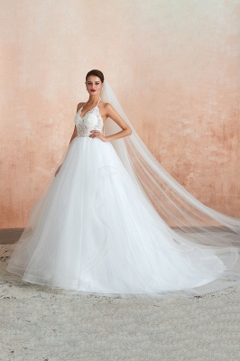 Halter Backless Sexy Cheap Ball Gown Wedding Dresses | Affordable Tulle Bridal Gowns_5