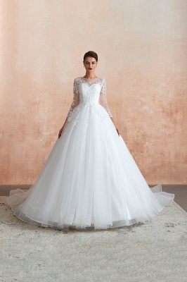 Floor Length Crew A-line Lace Tulle Wedding Dresses with Long Sleeves_5