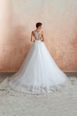 Floor Length V-neck Straps Cheap A-line Lace Tulle Wedding Dresses_8