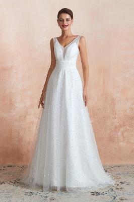 Floor Length Straps V-neck Backless A-line Wedding Dresses   Cheap Tulle Bridal Gowns_5