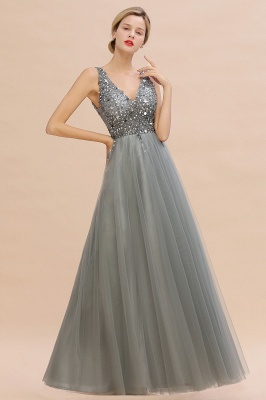 Sleeveless A-line Sequin Tulle Prom Dresses | Cheap Evening Dress_12