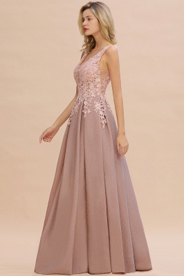 Elegant Sleeveless V-neck Floor Length Appliques Prom Dresses | Cheap Backless Evening Dresses_11