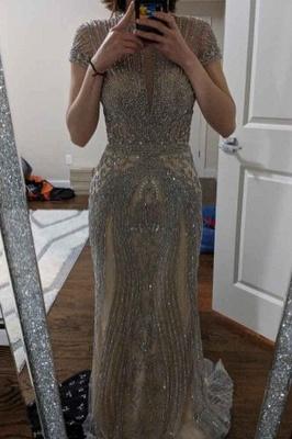 Luxury Cap Sleeves Keyhole Rhinestones Mermaid Prom Dresses | Gorgeous Beaded Evening Dress_17