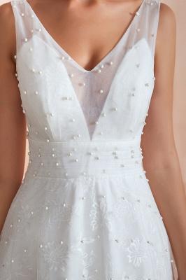 Floor Length Straps V-neck Backless A-line Wedding Dresses | Cheap Tulle Bridal Gowns_9