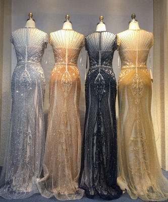 Luxury Cap Sleeves Keyhole Rhinestones Mermaid Prom Dresses | Gorgeous Beaded Evening Dress_38