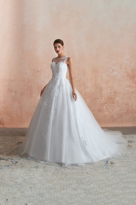 Floor Length Bateau Sleeveless Buttons Lace Tulle Puffy Wedding Dresses_2