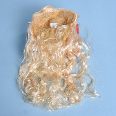 Gold Long Wavy Realistic Synthetic Hair Wig_6