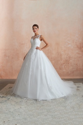 Floor Length Bateau Sleeveless Buttons Lace Tulle Puffy Wedding Dresses_5