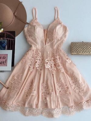 Spaghetti-Strap Zipper Cute Sleeveless Lace Short Homecoming Dress_2