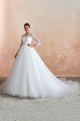 Floor Length Crew A-line Lace Tulle Wedding Dresses with Long Sleeves_10