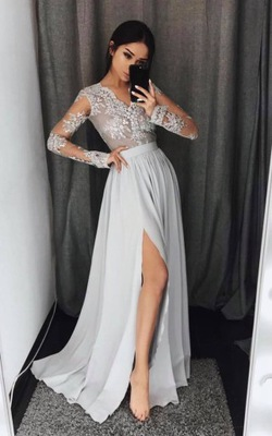 2019 Gray Prom Dresses Lace Long Sleeves Side Slit A-line Evening Gowns_2