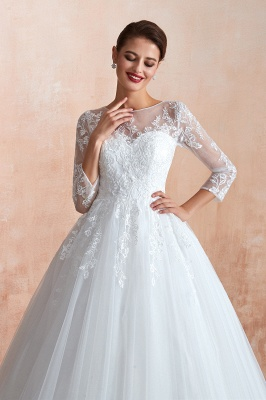 Floor Length Crew A-line Lace Tulle Wedding Dresses with Long Sleeves_6